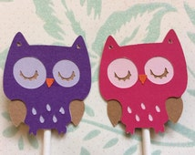 12 Detailed Pink and Purple Owls Cupcake toppers