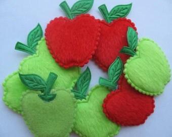 SET of 10 BIG Furry Felt Red/Green Padded Apple Appliques