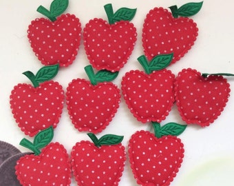 10 Big Padded Red with White Polka Dot Apple Applique