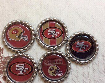 SET of 5 -San Francisco Bottle Caps For Pendants, Hairbows Hair Bow Centers - Ready to use
