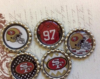 SET of 5 SET 2 -San Francisco Bottle Caps For Pendants, Hairbows Hair Bow Centers - Ready to use