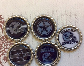 SET of 5 - SET 2 Dallas Cowboys Bottle Caps For Pendants, Hairbows Hair Bow Centers - Ready to use