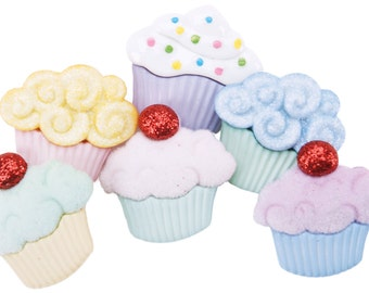 SET of 8 Shank Sweet Yummy Cupcake Sewing Button Collection