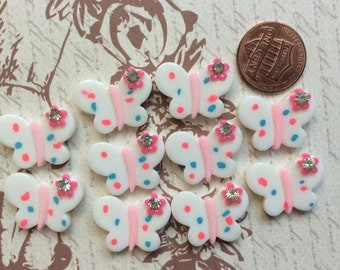 SET of 10 Cabochon Butterflies with Gem Resin Flatback Scrapbooking Hair Bow Center Crafts Making