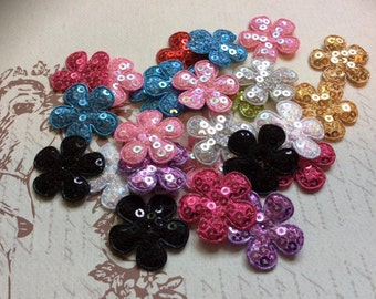 """SET of 20 1"""" Assortment of Colors with Sequin Flower Padded Appliques"""