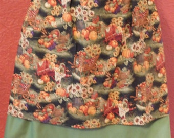 LADIES FALL Half Apron  with pumpkins and fall flowers