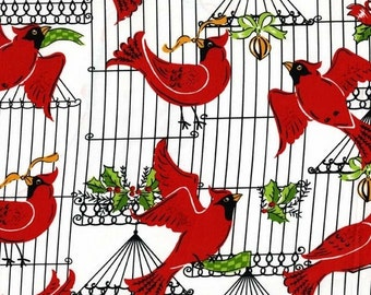 Holiday Birds Retro Cotton Quilt Fabric Michael Miller Birdcage Christmas    BFab