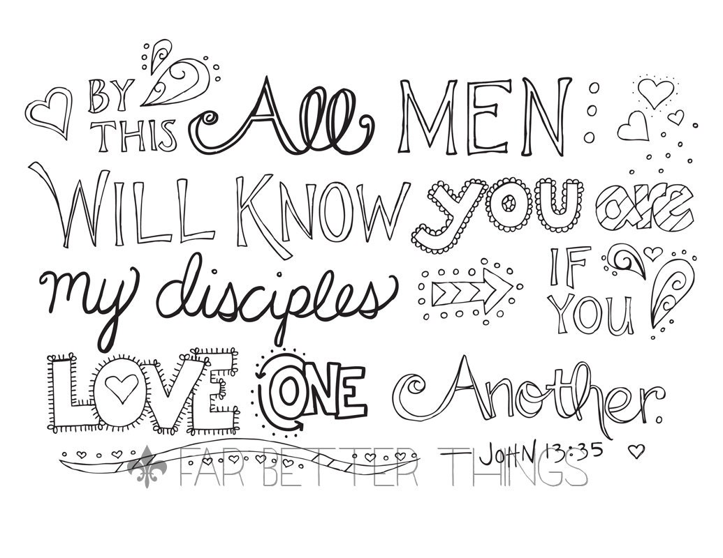 Bible Verse Coloring Page John 13 35 Love One Another
