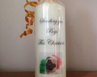 Sending you pugs this christmas candle, personalised candle, christmas candle, cute christmas gifts, secret santa gifts