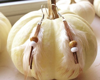 Boho feather earrings, handmade earrings, beaded feather earrings