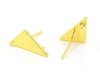 Base earrings Triangle Brass Gold colored 1 PAIR