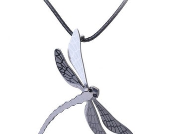 Dragonfly pendant charm pendant in silver-colored steel