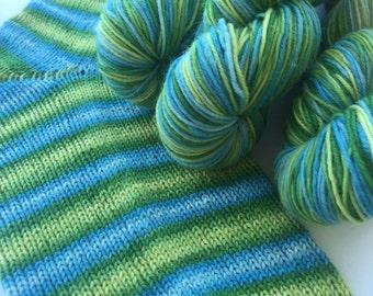 Hand dyed self striping sock yarn - Swedish Spring