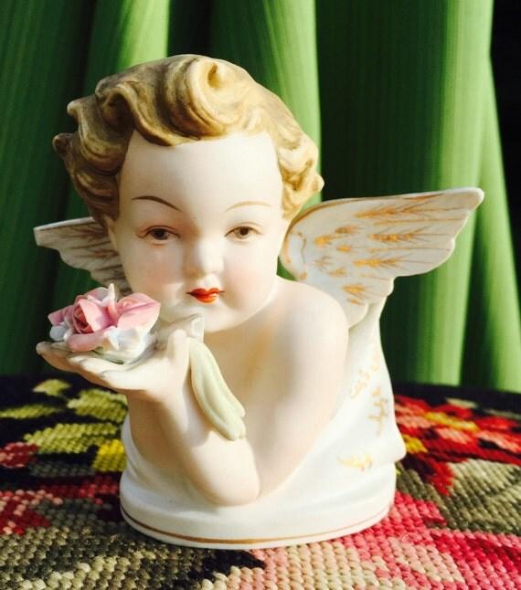 Vintage Lefton China Angel Porcelain Cherub Angel