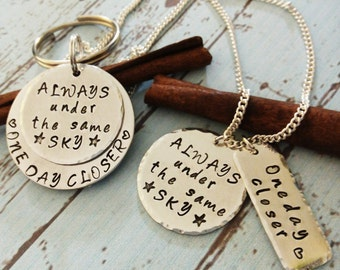 Hand Stamped Military Necklace and Key Chain, Always Under The Same Sky Keychain,Deployment Gift,Military Couples Gift,Army Wife Necklace