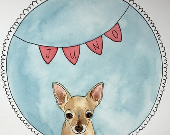Custom pet portrait in watercolor based on your photograph