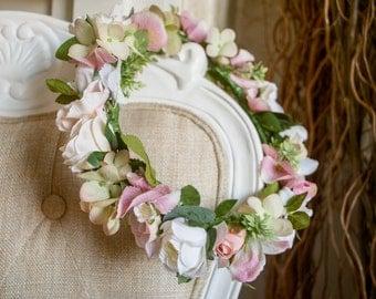 Silk bridal flower crown/circlet in cream and pastel pink.