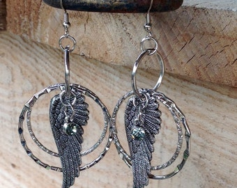 Angel Wing Dangle Earrings with Hoops and Crystal, One-of-A-Kind