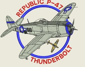 Republic P-47 ThunderBolt  Fighter Plane Embroidery Design