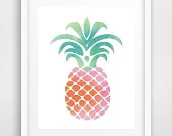 Pink pineapple print, tropical decor, cool posters, pineapple wall print, modern decor, kitchen decor, teen decor, wall prints, large prints