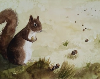 Squirrel Original Watercolor Painting