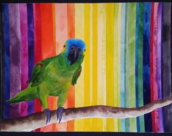 Green Parrot Original Watercolor Painting