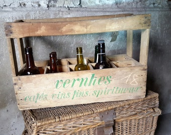French wooden bottle crate - French vintage wood crate - wooden wine crate - Garden decor -  shabby chic decor