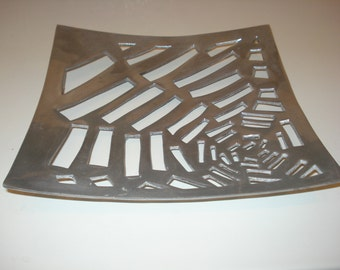 Square cobweb design fruit platter in aluminium 1960s