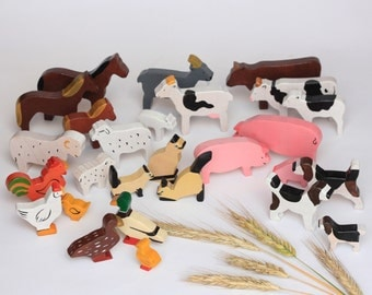 Wooden farm animals Families set of 27