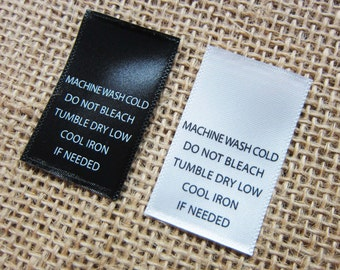 "Printed Satin Care Clothing Labels- Machine Wash Cold - 1"" (W) x 1.5"" (H) - Straight Cut Labels - Black or White Color - 100 PCS"