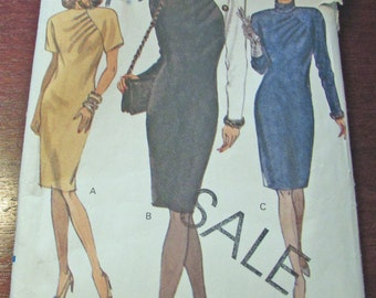 Vogue Sewing Pattern 7914 Misses Dress Fitted Tapered Dress Mid Knee Raised Neckline Shoulder Pads Front Pleats Back Zipper Size 8 10 12