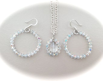 Sterling Silver Swarovski Crystals Set 17""