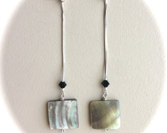Sterling Silver Square Shell Earrings 2.8""