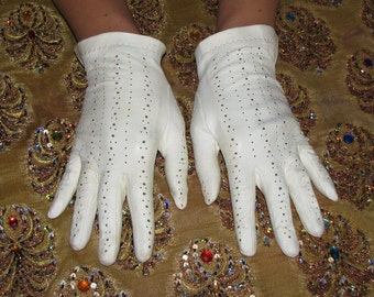 Leather GLOVES white operwork calf vintage womens gloves size 7