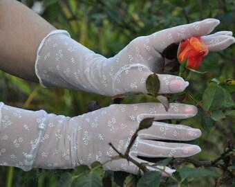 White GLOVES lace evening or wedding gloves 6 nylon fabric flower