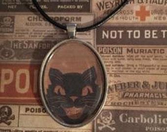 Vintage Halloween Cat Portrait Necklace