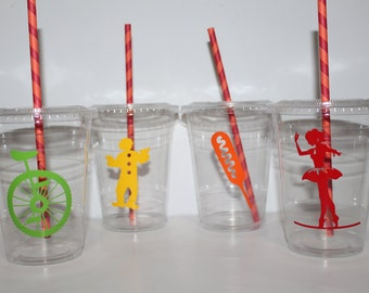 Carnival Party cups, Carnival Birthday party, carnival, carnival party, carnival theme, plastic cups with lids and straws
