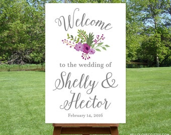 PRINTABLE Large Wedding Welcome Sign, Personalized Wedding Sign, Reception Entrance Sign, Purple Flower Bouquet Sign, DIGITAL FILE