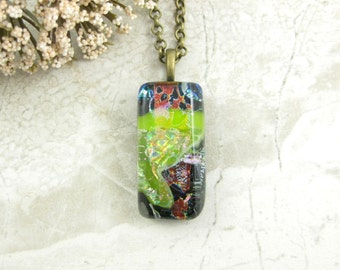 Layered Glass Pendant - Green, Blue and Red Necklace - Fused Dichroic Glass Jewelry