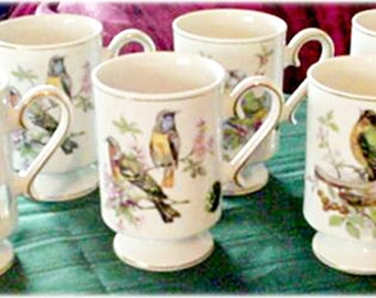 Six Porcelain Small Mugs Arnart 5th Avenue with Birds, Royal Crown