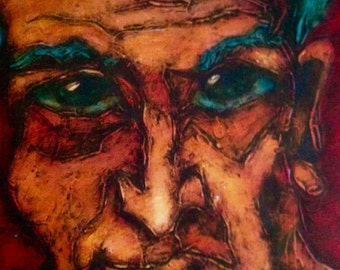 Self Portrait Edward Ziouzine  Modern Art, original oil painting on canvas panel, collection ValBoldwinArt