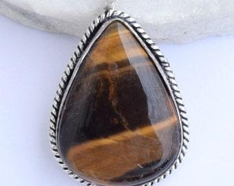 Tiger eye pendant , Silver Pendant, Tiger  Pendant, Tiger eye jewellry,Tiger eye Stone Pendant