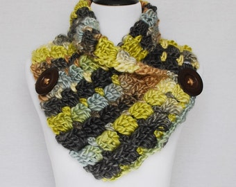 Green, Yellow, Gray Brown Crochet Scarf, Crochet Cowl, Chunky Button Scarf, Crochet Neck Warmer, Wrap Scarf, Chunky Infinity Scarf