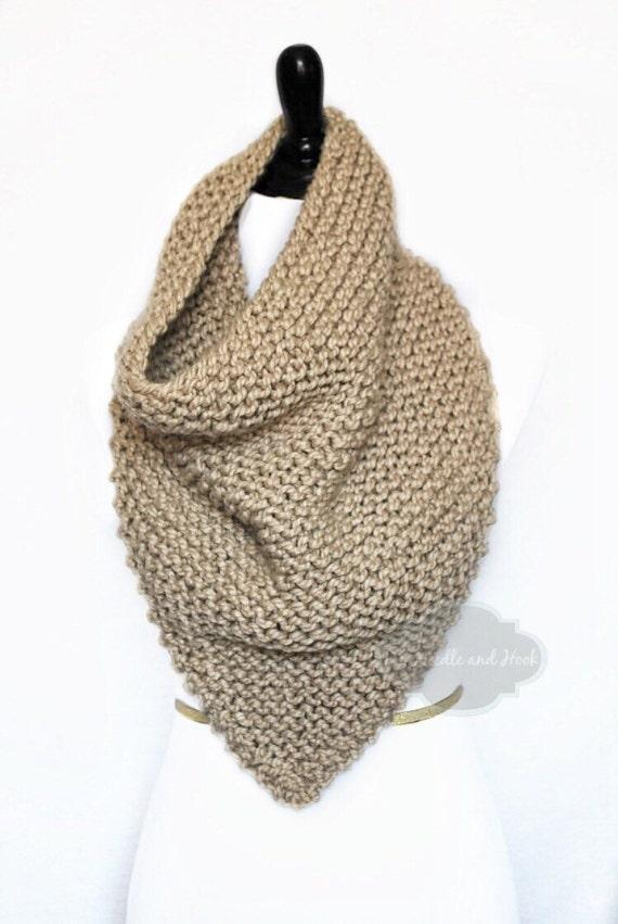 Taupe Knit Scarf, Chunky Light Brown Bandana Cowl, Tan Neck Warmer, Beige Infinity Scarf, Wrap Scarf, Chunky Infinity Scarf