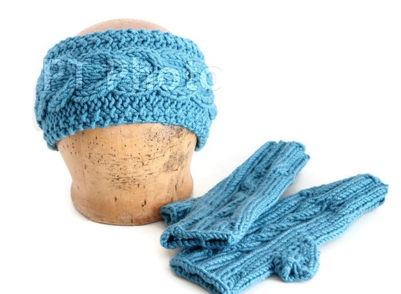 Knitted Headband ,mitts and neck warmer set,Headband Ear Warmer Cabled Headband Head wrap in blue