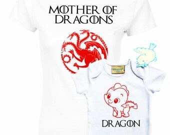 Game of Thrones inspired Targaryen House, Mother of Dragons t-shirt and baby grow with dragon set.
