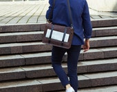 Mens messenger leather bag - Leather crossbody bag - Business or casual - Brown leather