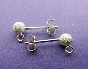 New 15mm 925 Sterling Silver Ear Studs 4mm Stardust Full Balls 2 pairs