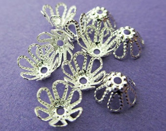 New 7mm x 4mm Silver Plated Flower Beadcap 20pcs
