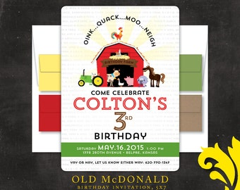 OLD McDONALD had a farm .  birthday invitation